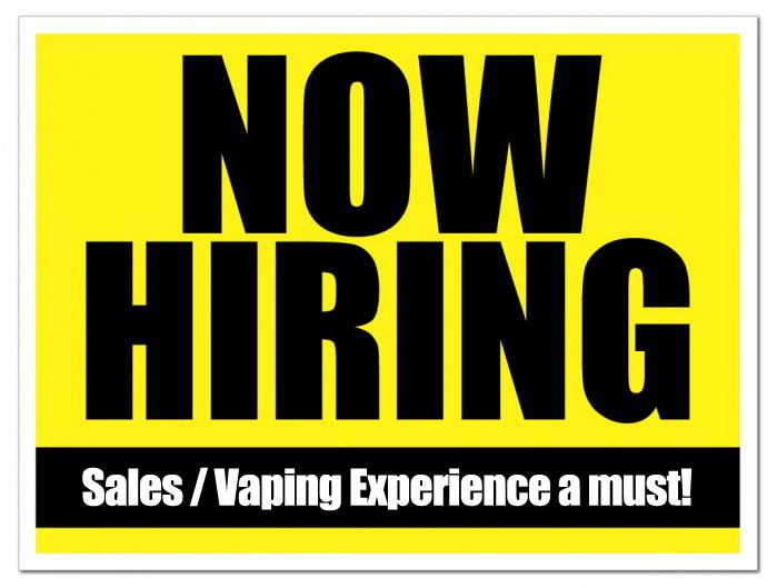 Paradise Vape is now hiring… Experienced Vaper / Sales Rep ...